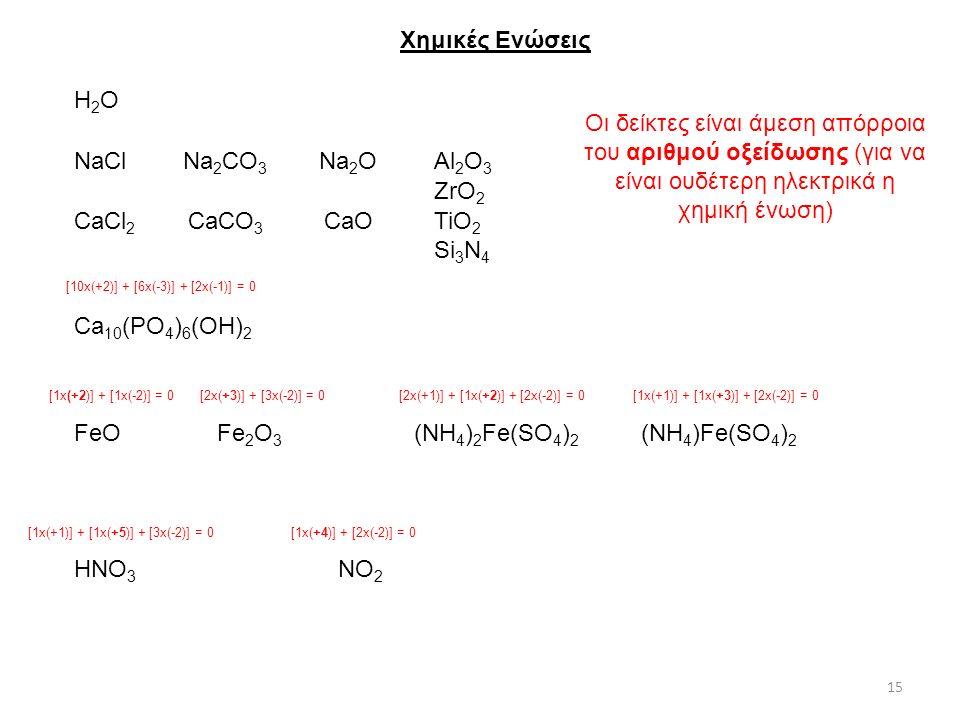 Χημικές Ενώσεις Η2Ο. Οι δείκτες είναι άμεση απόρροια του αριθμού οξείδωσης (για να είναι ουδέτερη ηλεκτρικά η χημική ένωση)