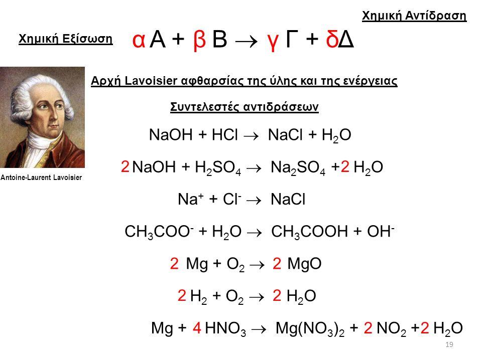 α β γ δ Α + Β  Γ + Δ NaOH + HCl  NaCl + H2O 2