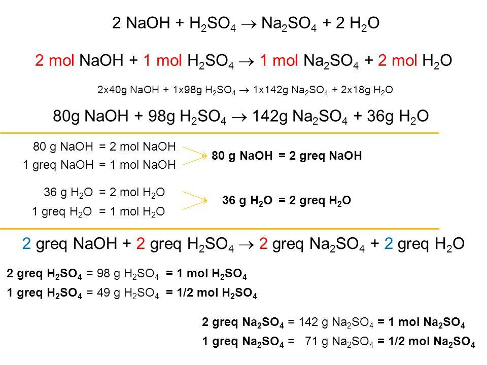 2 mol NaOH + 1 mol H2SO4  1 mol Na2SO4 + 2 mol H2O