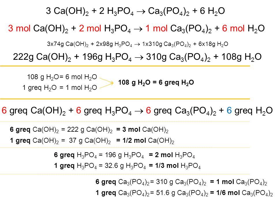 3 Ca(OH)2 + 2 H3PO4  Ca3(PO4)2 + 6 H2O