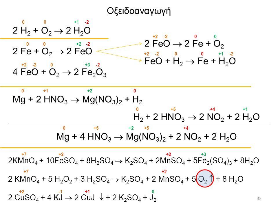 Οξειδοαναγωγή 2 H2 + O2  2 H2O 2 FeO  2 Fe + O2 2 Fe + O2  2 FeO