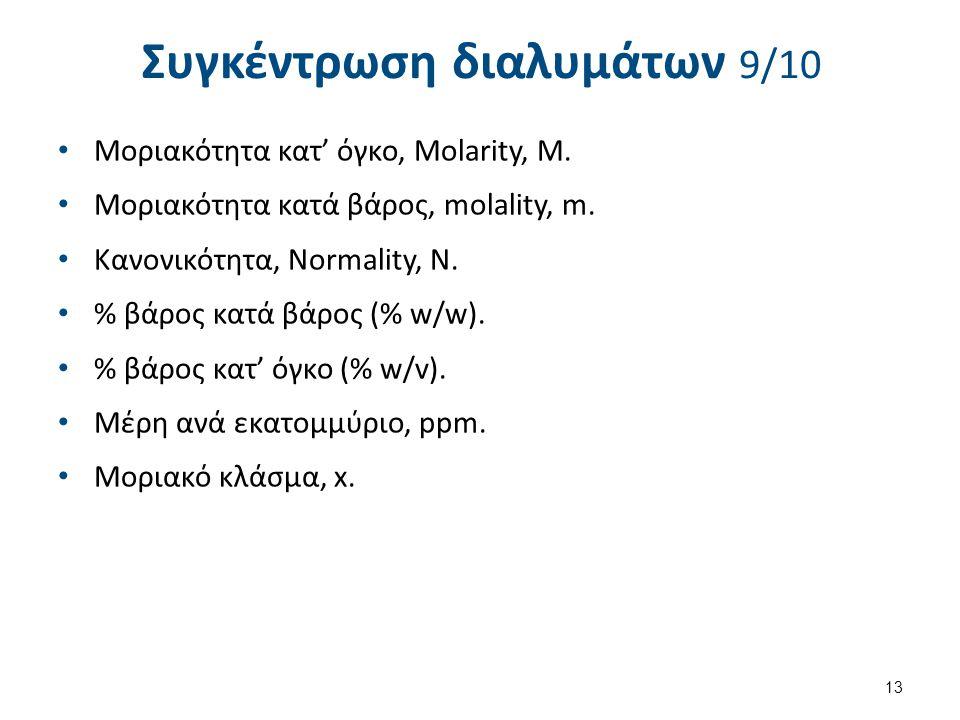 Συγκέντρωση διαλυμάτων 10/10