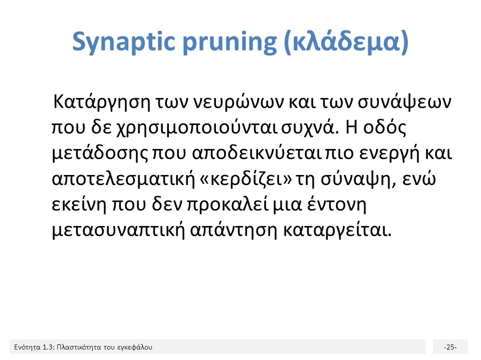 Synaptic pruning (κλάδεμα)