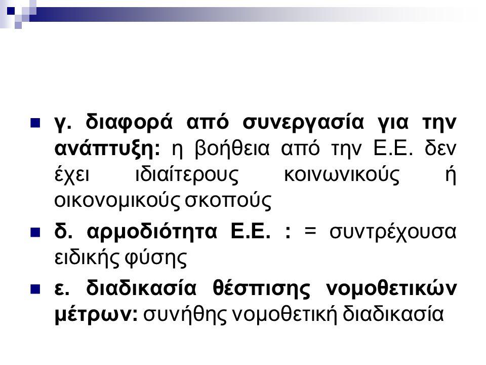 γ. διαφορά από συνεργασία για την ανάπτυξη: η βοήθεια από την Ε. Ε