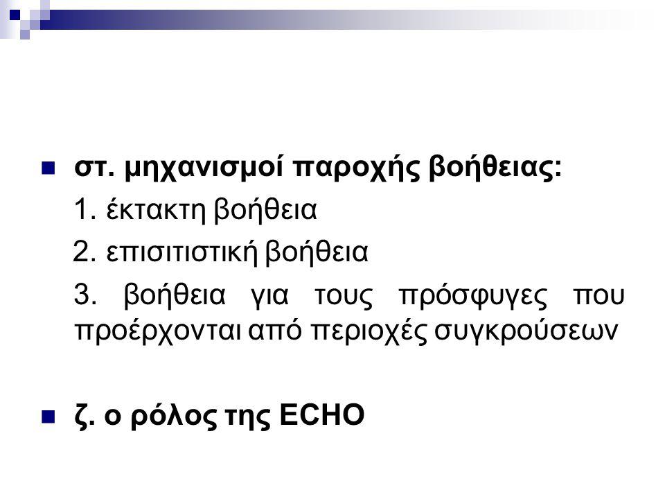 στ. μηχανισμοί παροχής βοήθειας: