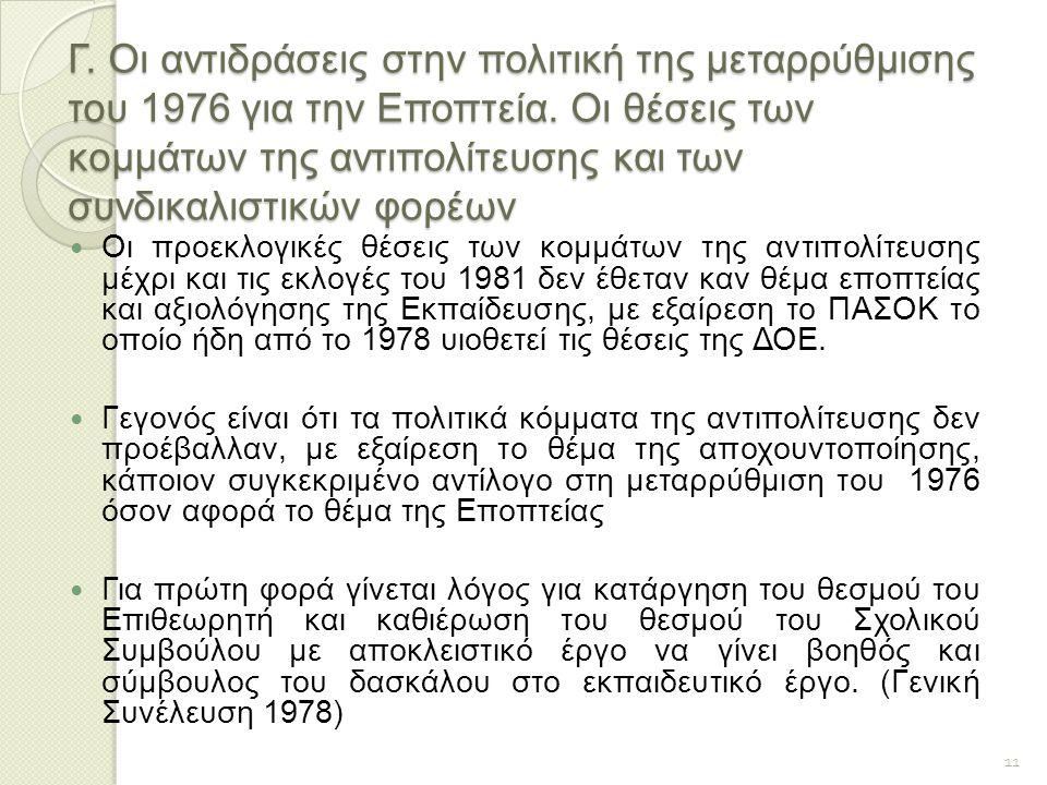 Γ. Οι αντιδράσεις στην πολιτική της μεταρρύθμισης του 1976 για την Εποπτεία. Οι θέσεις των κομμάτων της αντιπολίτευσης και των συνδικαλιστικών φορέων