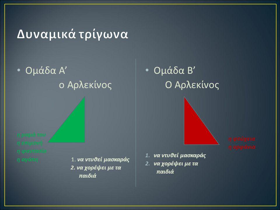 Δυναμικά τρίγωνα Ομάδα Α' ο Αρλεκίνος Ομάδα Β' Ο Αρλεκίνος η μαμά του