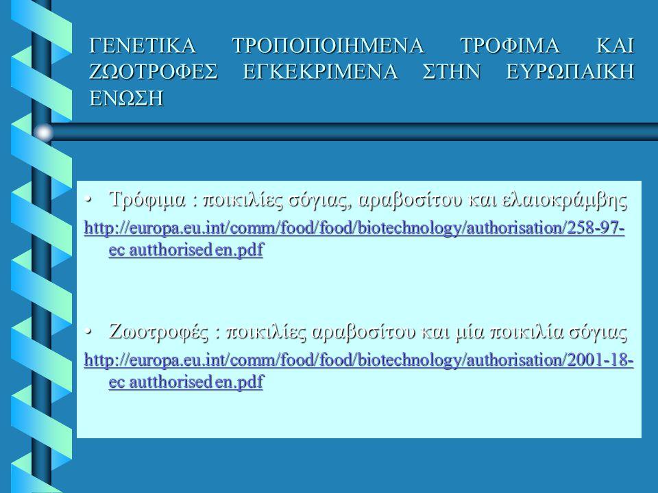 Τρόφιμα : ποικιλίες σόγιας, αραβοσίτου και ελαιοκράμβης
