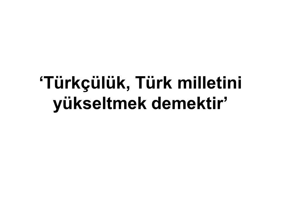 'Türkçülük, Türk milletini yükseltmek demektir'