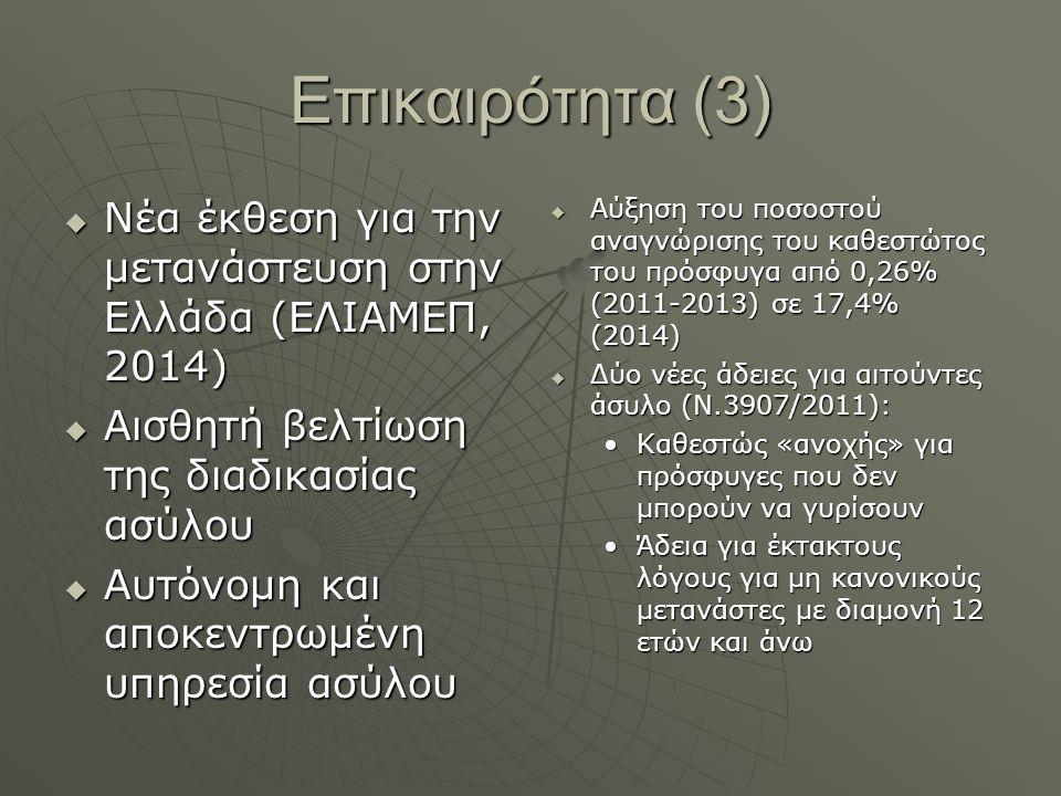 Επικαιρότητα (3) Νέα έκθεση για την μετανάστευση στην Ελλάδα (ΕΛΙΑΜΕΠ, 2014) Αισθητή βελτίωση της διαδικασίας ασύλου.