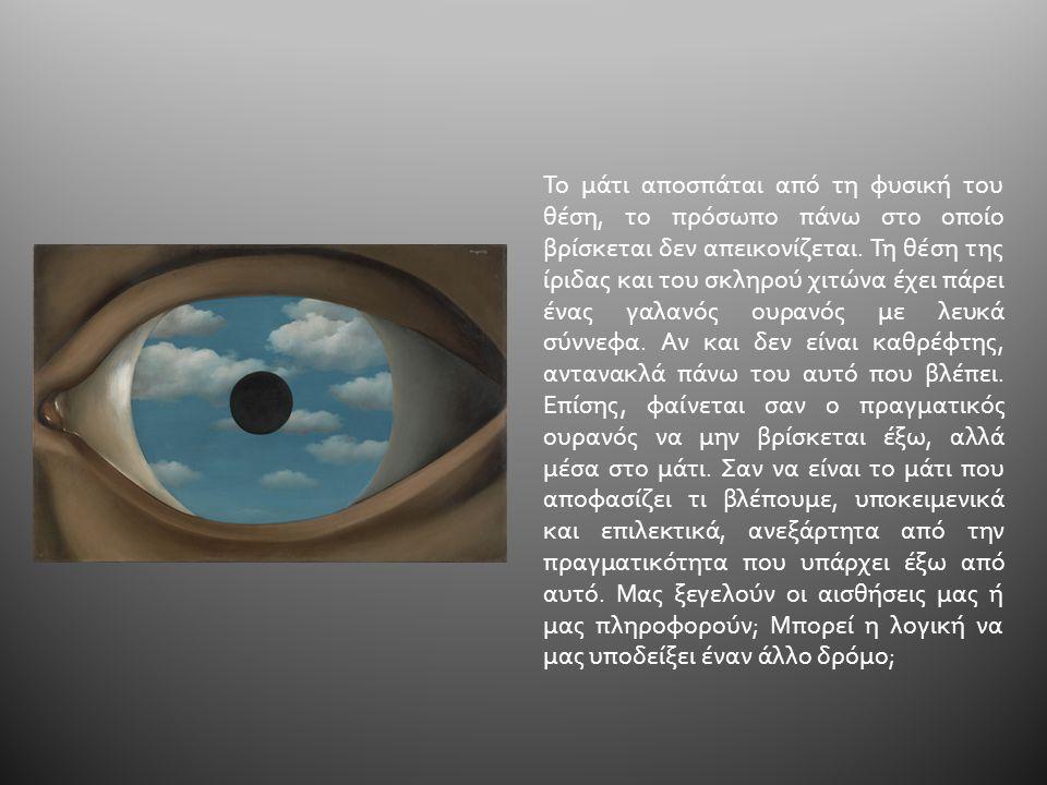 Το μάτι αποσπάται από τη φυσική του θέση, το πρόσωπο πάνω στο οποίο βρίσκεται δεν απεικονίζεται.