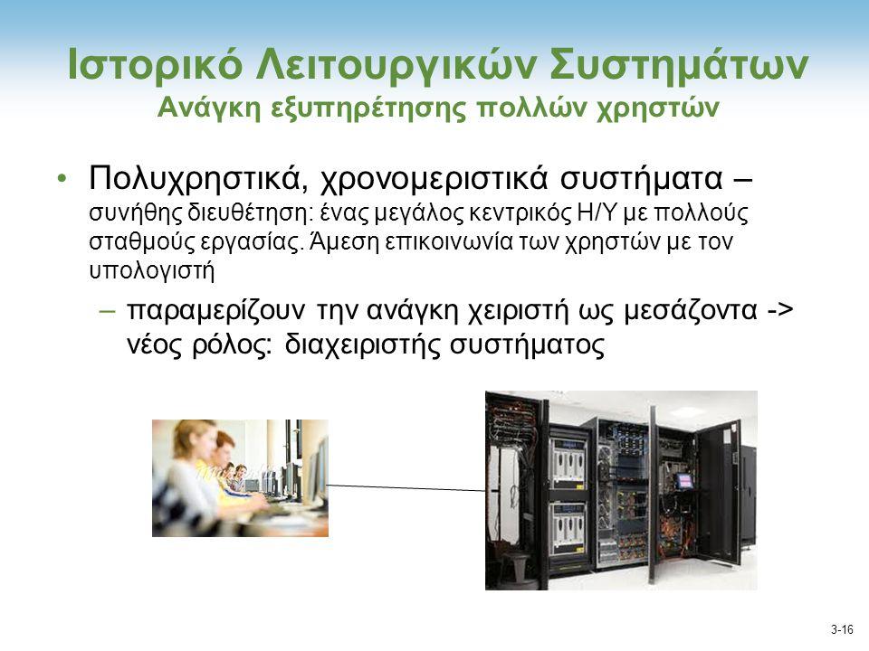 Ιστορικό Λειτουργικών Συστημάτων Ανάγκη εξυπηρέτησης πολλών χρηστών