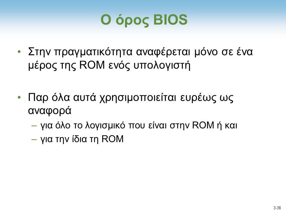 Ο όρος ΒΙΟS Στην πραγματικότητα αναφέρεται μόνο σε ένα μέρος της ROM ενός υπολογιστή. Παρ όλα αυτά χρησιμοποιείται ευρέως ως αναφορά.
