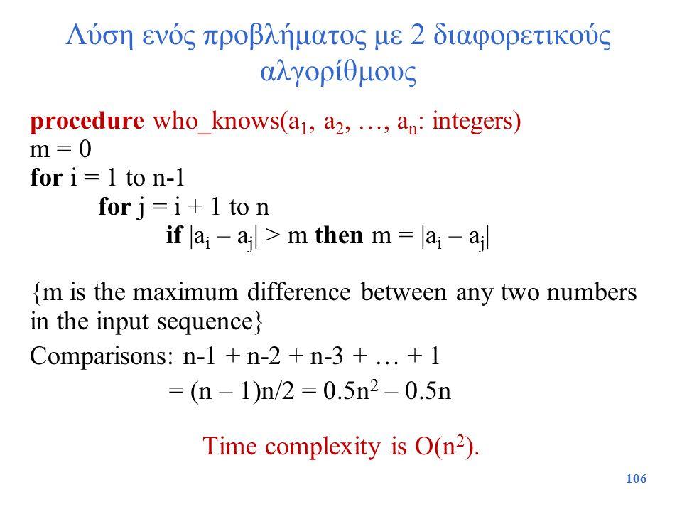 Λύση ενός προβλήματος με 2 διαφορετικούς αλγορίθμους