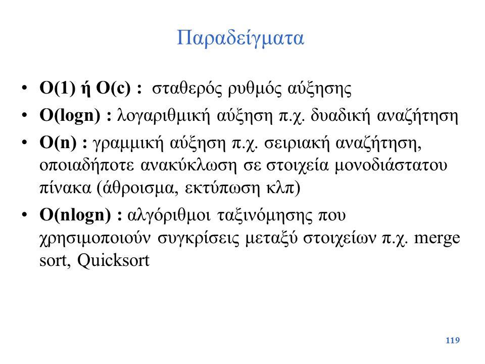 Παραδείγματα O(1) ή O(c) : σταθερός ρυθμός αύξησης