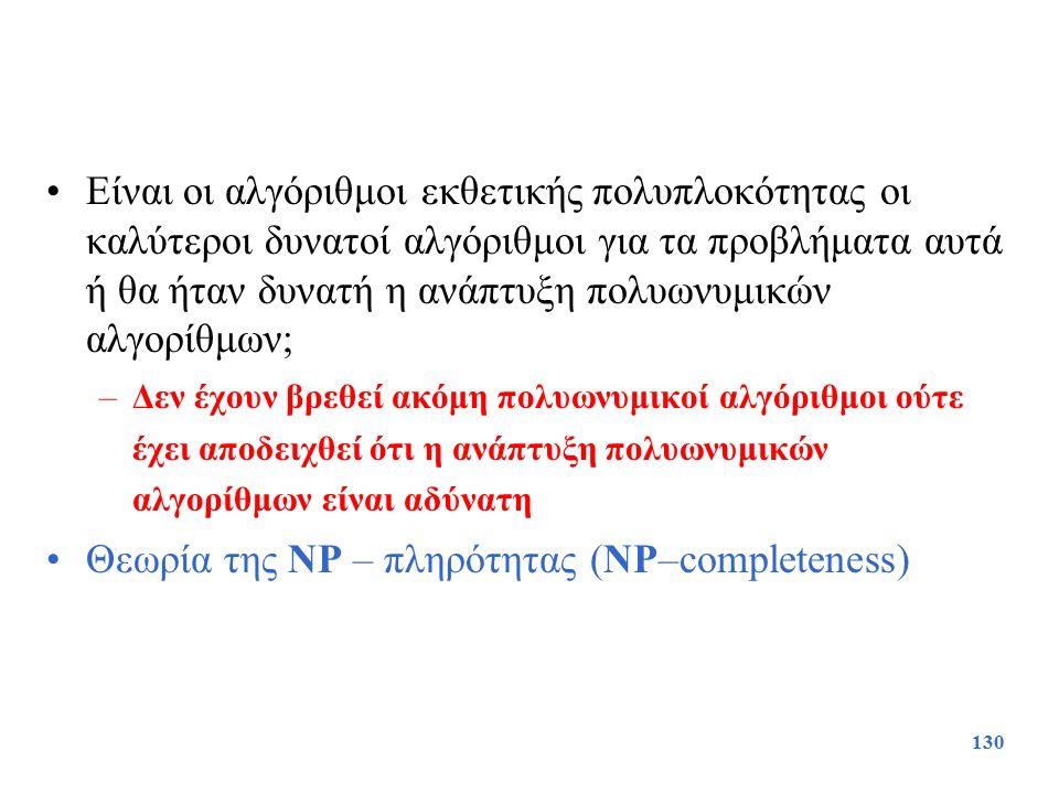 Θεωρία της NP – πληρότητας (NP–completeness)