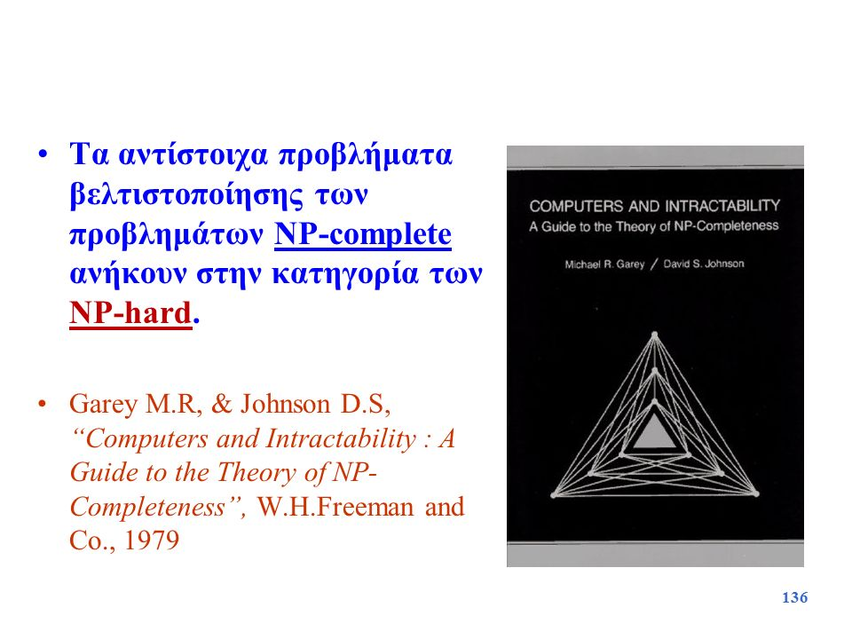 Τα αντίστοιχα προβλήματα βελτιστοποίησης των προβλημάτων NP-complete ανήκουν στην κατηγορία των NP-hard.