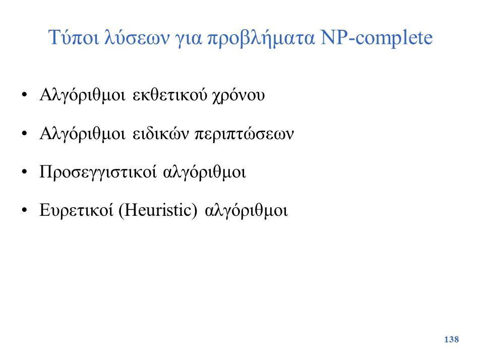 Τύποι λύσεων για προβλήματα NP-complete