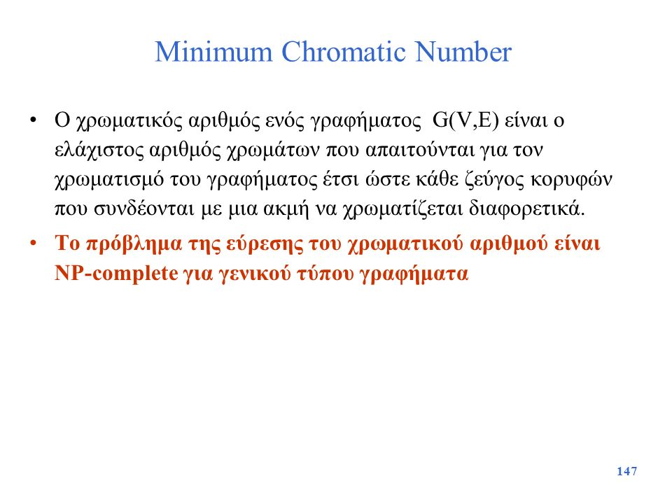 Minimum Chromatic Number