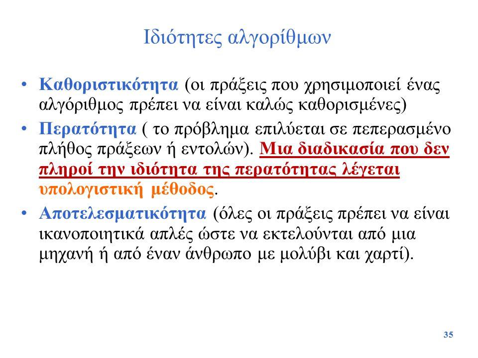 Ιδιότητες αλγορίθμων Καθοριστικότητα (οι πράξεις που χρησιμοποιεί ένας αλγόριθμος πρέπει να είναι καλώς καθορισμένες)