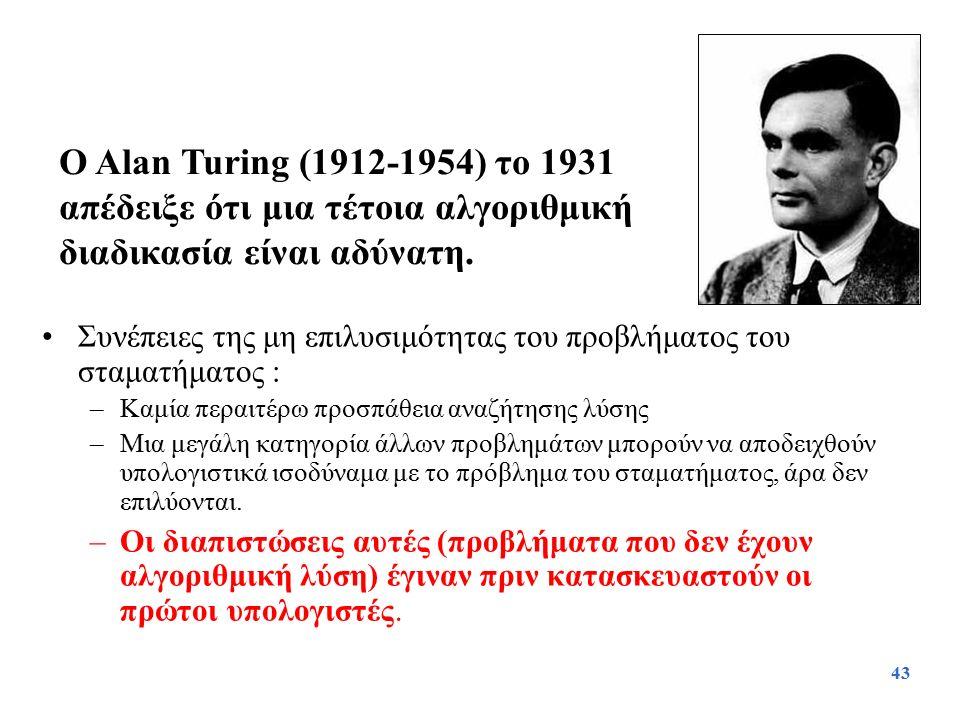 Ο Alan Turing (1912-1954) το 1931 απέδειξε ότι μια τέτοια αλγοριθμική διαδικασία είναι αδύνατη.