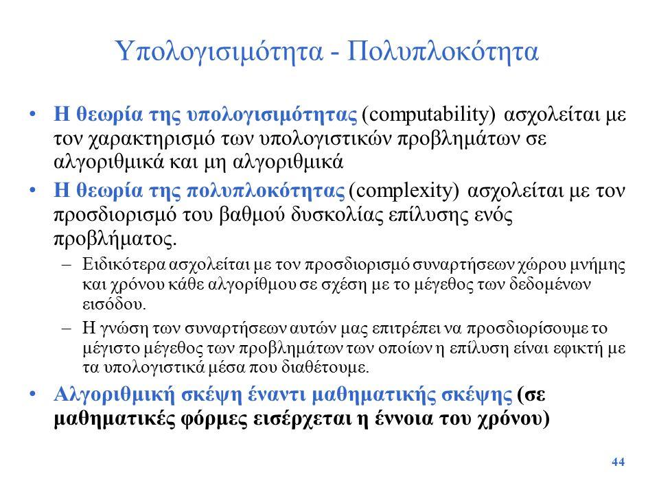 Υπολογισιμότητα - Πολυπλοκότητα