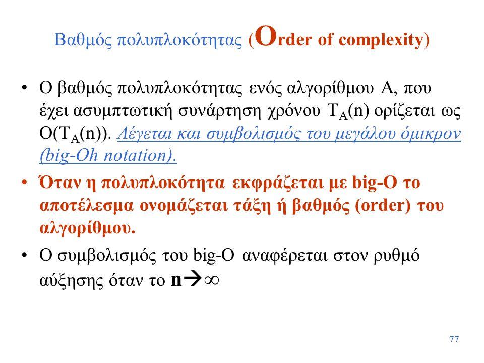 Βαθμός πολυπλοκότητας (Order of complexity)