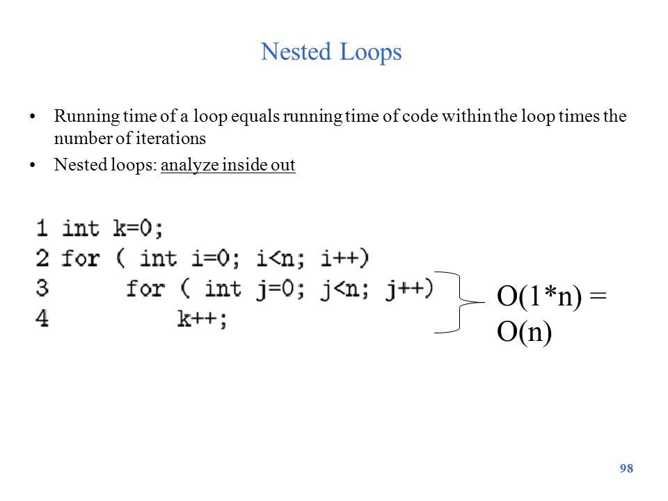 O(1*n) = O(n) Nested Loops