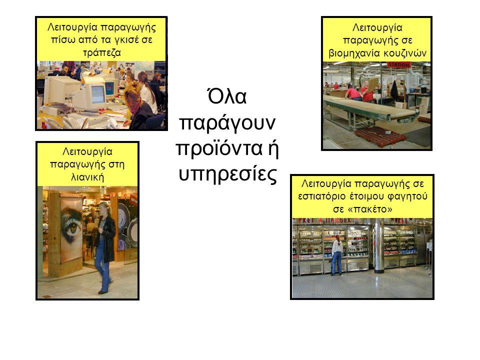 Όλα παράγουν προϊόντα ή υπηρεσίες