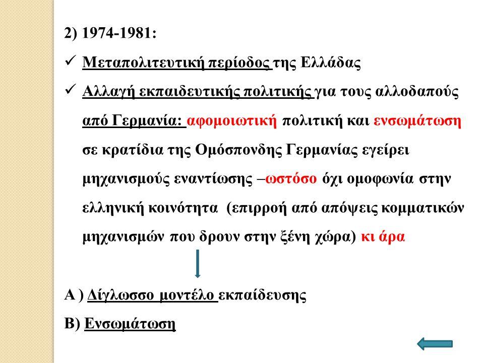 2) 1974-1981: Μεταπολιτευτική περίοδος της Ελλάδας.