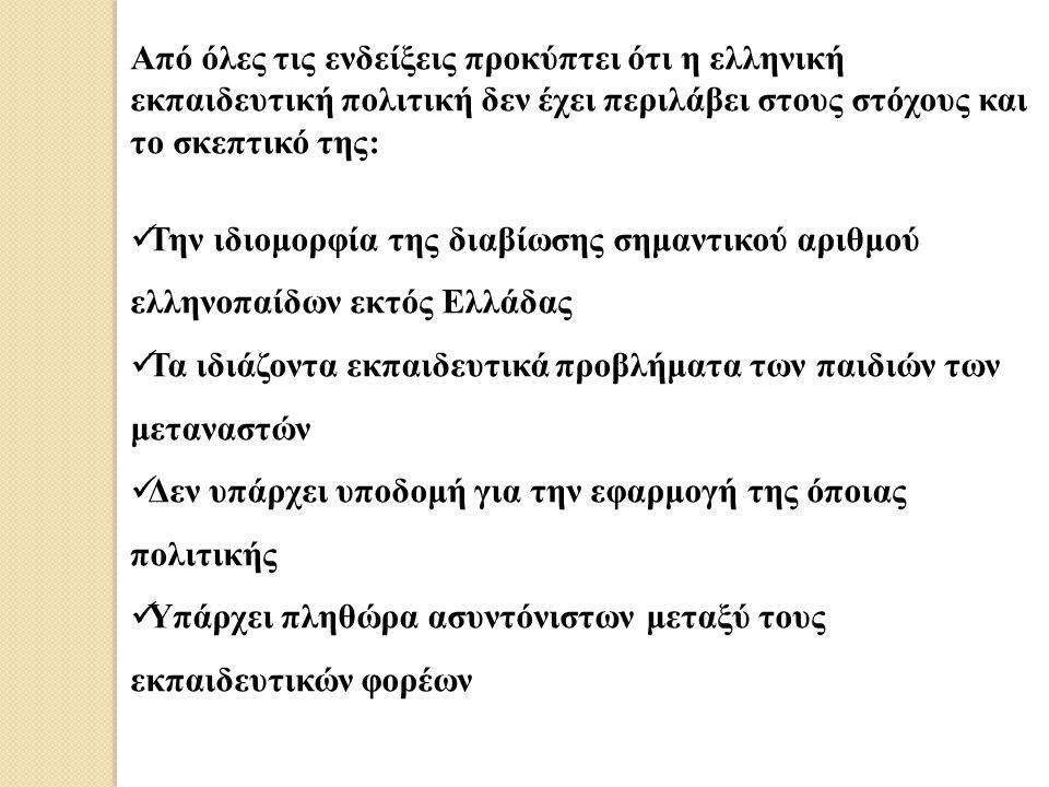 Από όλες τις ενδείξεις προκύπτει ότι η ελληνική εκπαιδευτική πολιτική δεν έχει περιλάβει στους στόχους και το σκεπτικό της: