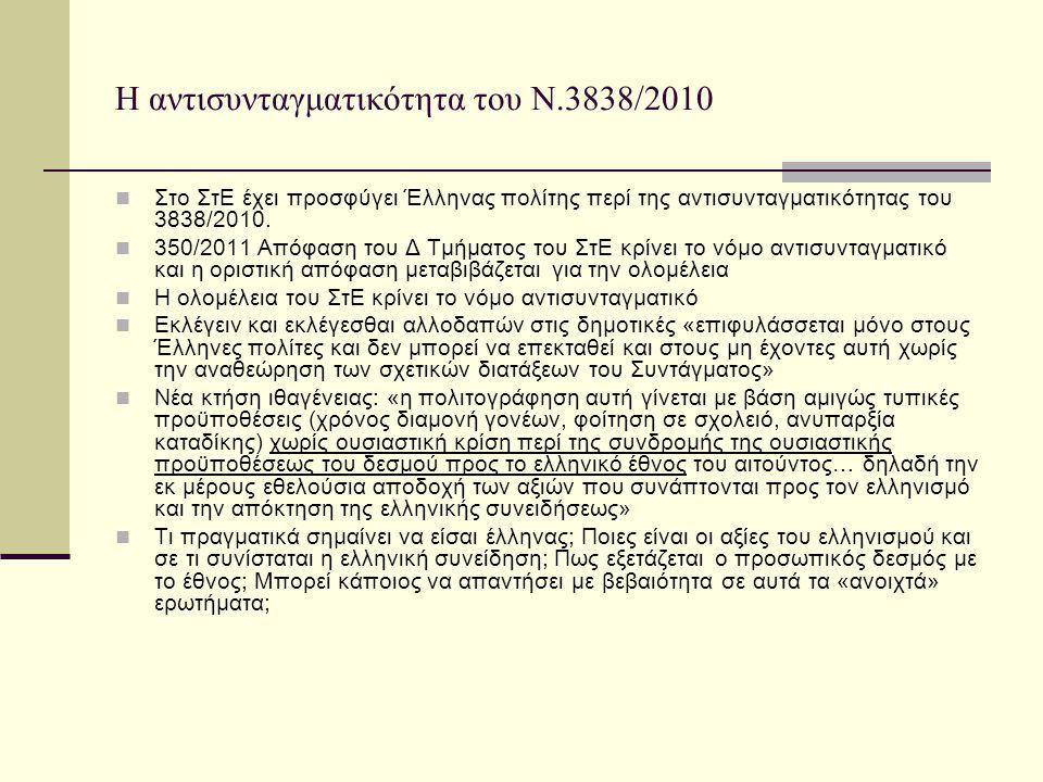 Η αντισυνταγματικότητα του Ν.3838/2010