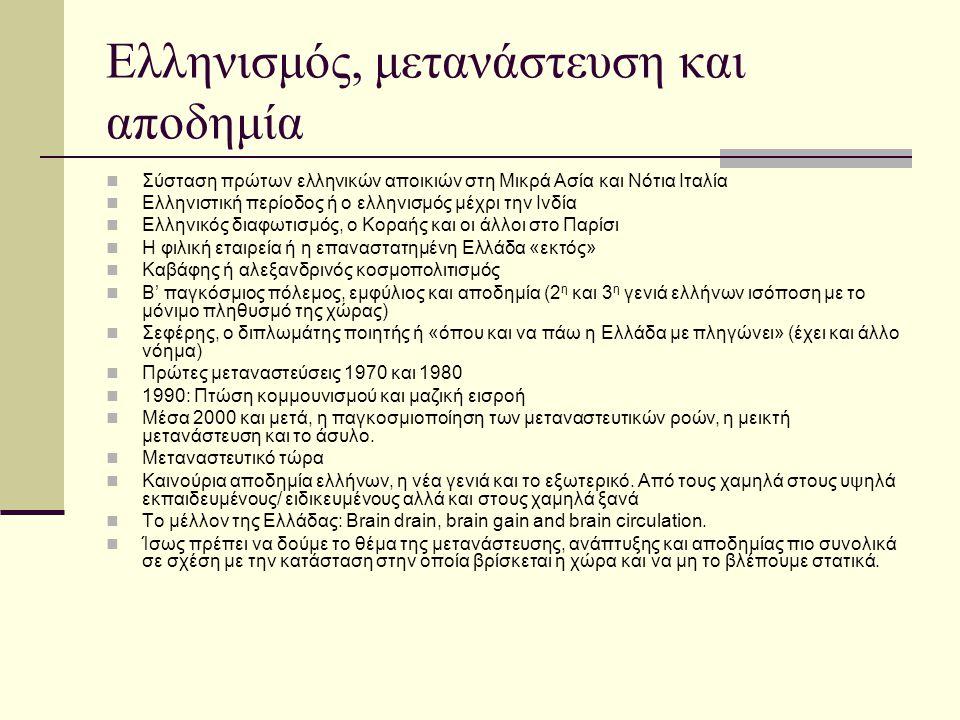 Ελληνισμός, μετανάστευση και αποδημία