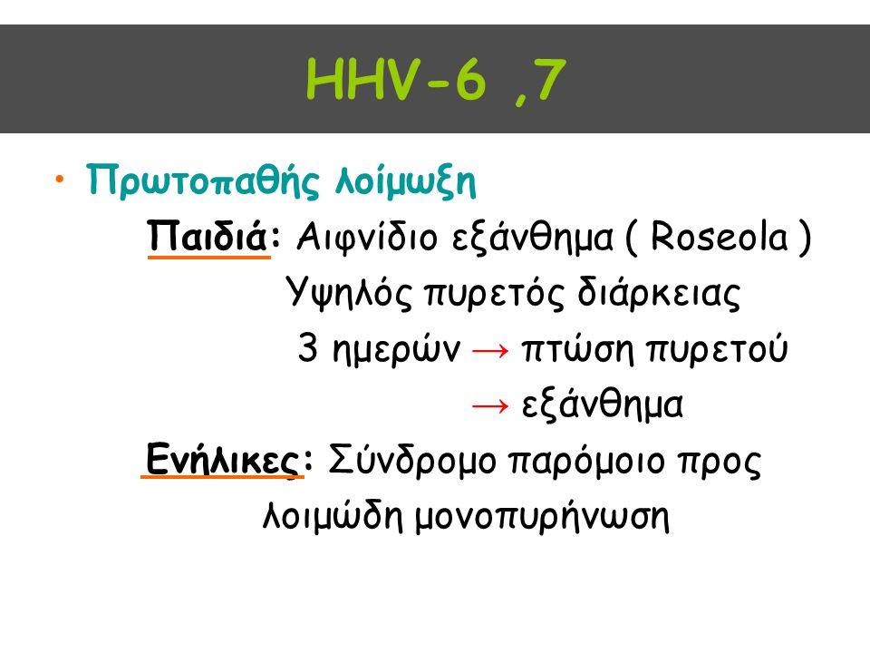 HHV-6 ,7 Πρωτοπαθής λοίμωξη Παιδιά: Αιφνίδιο εξάνθημα ( Roseola )