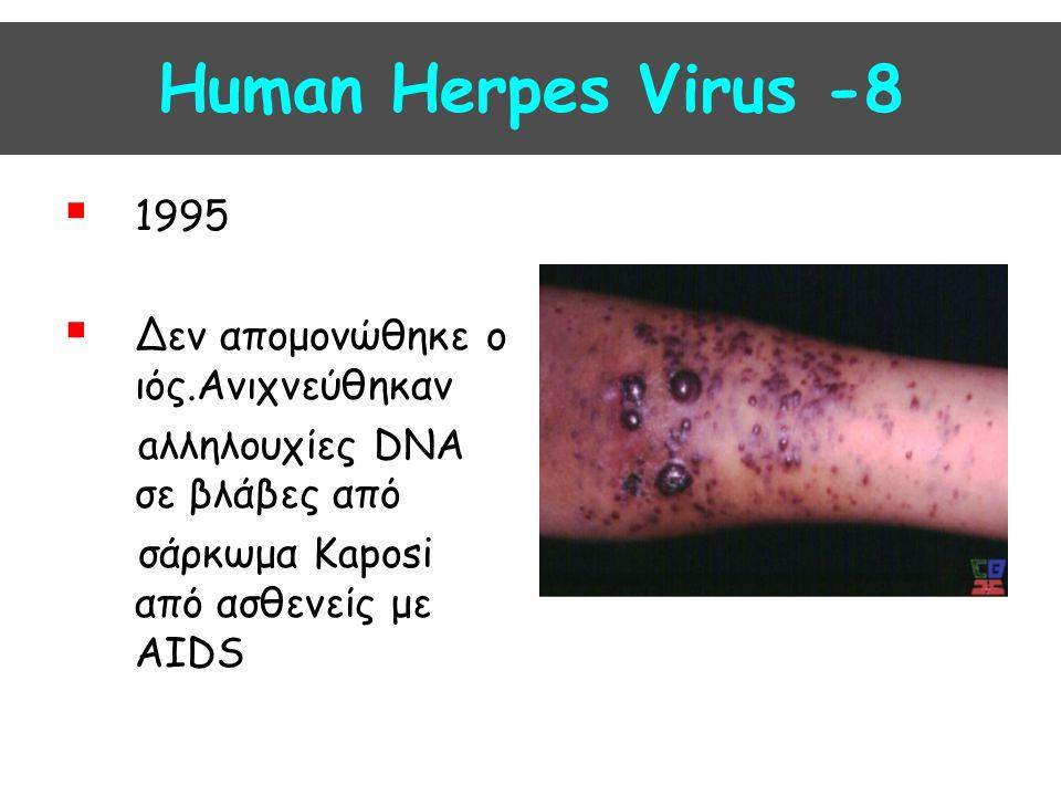 Human Herpes Virus -8 1995 Δεν απομονώθηκε ο ιός.Ανιχνεύθηκαν