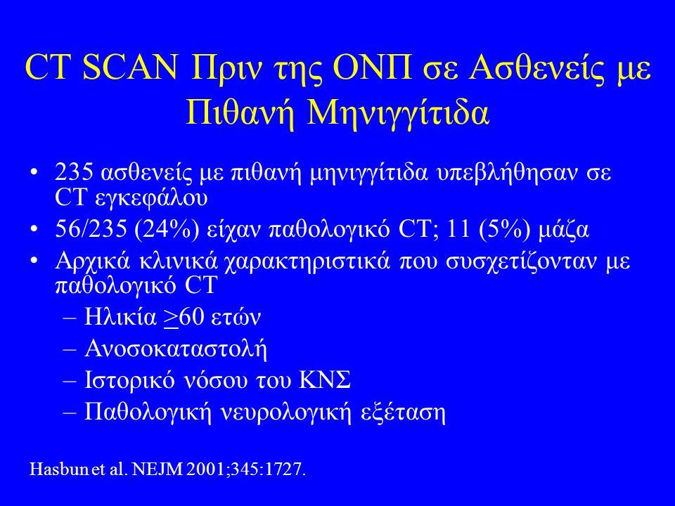 CT SCAN Πριν της ΟΝΠ σε Ασθενείς με Πιθανή Μηνιγγίτιδα