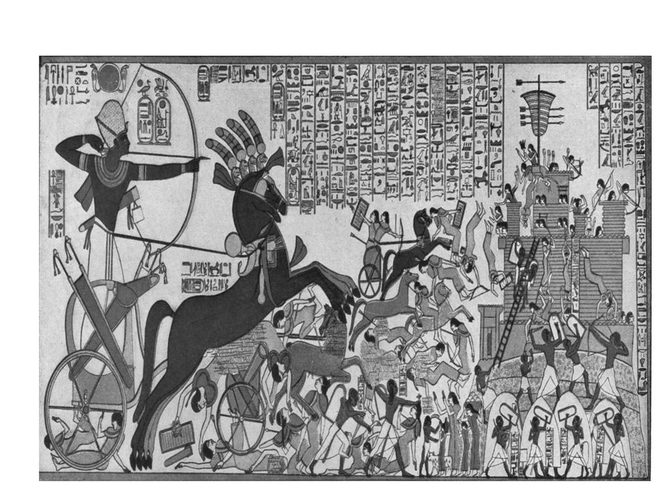 Ramesses II storming the Hittite fortress of Dapur.
