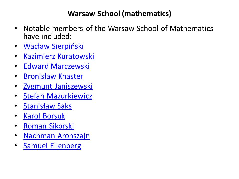Warsaw School (mathematics)