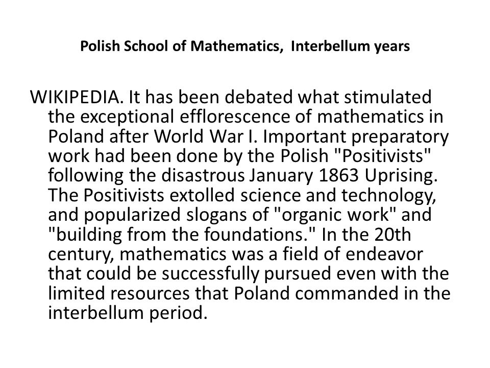 Polish School of Mathematics, Interbellum years