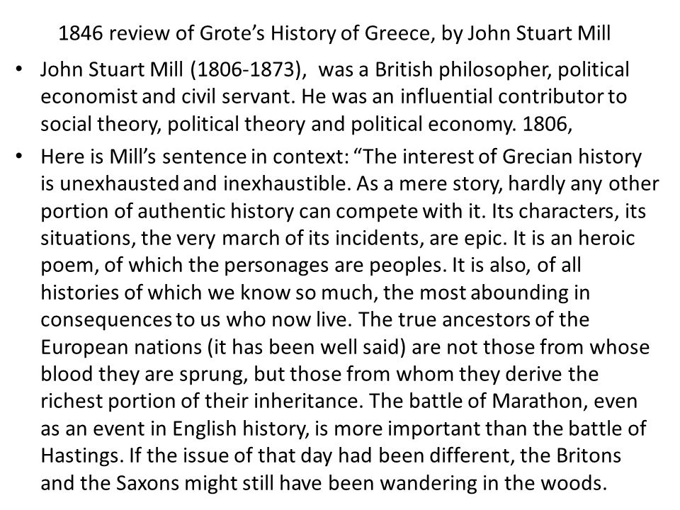 1846 review of Grote's History of Greece, by John Stuart Mill