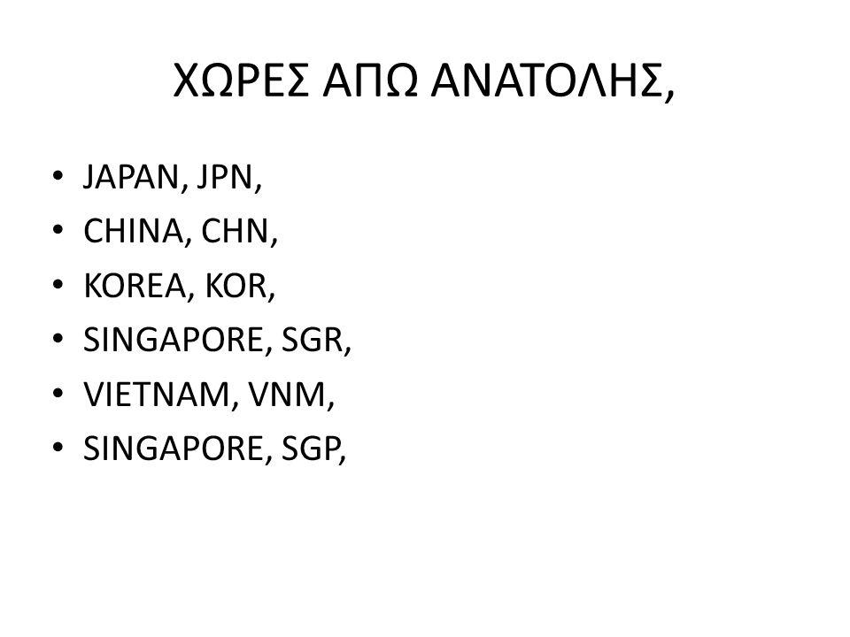 ΧΩΡΕΣ ΑΠΩ ΑΝΑΤΟΛΗΣ, JAPAN, JPN, CHINA, CHN, KOREA, KOR,