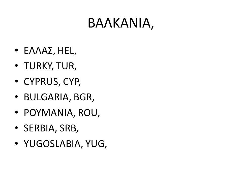 ΒΑΛΚΑΝΙΑ, ΕΛΛΑΣ, HEL, TURKY, TUR, CYPRUS, CYP, BULGARIA, BGR,