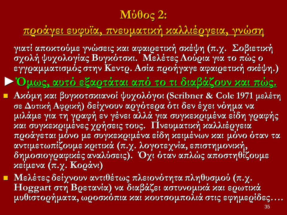 Μύθος 2: προάγει ευφυϊα, πνευματική καλλιέργεια, γνώση