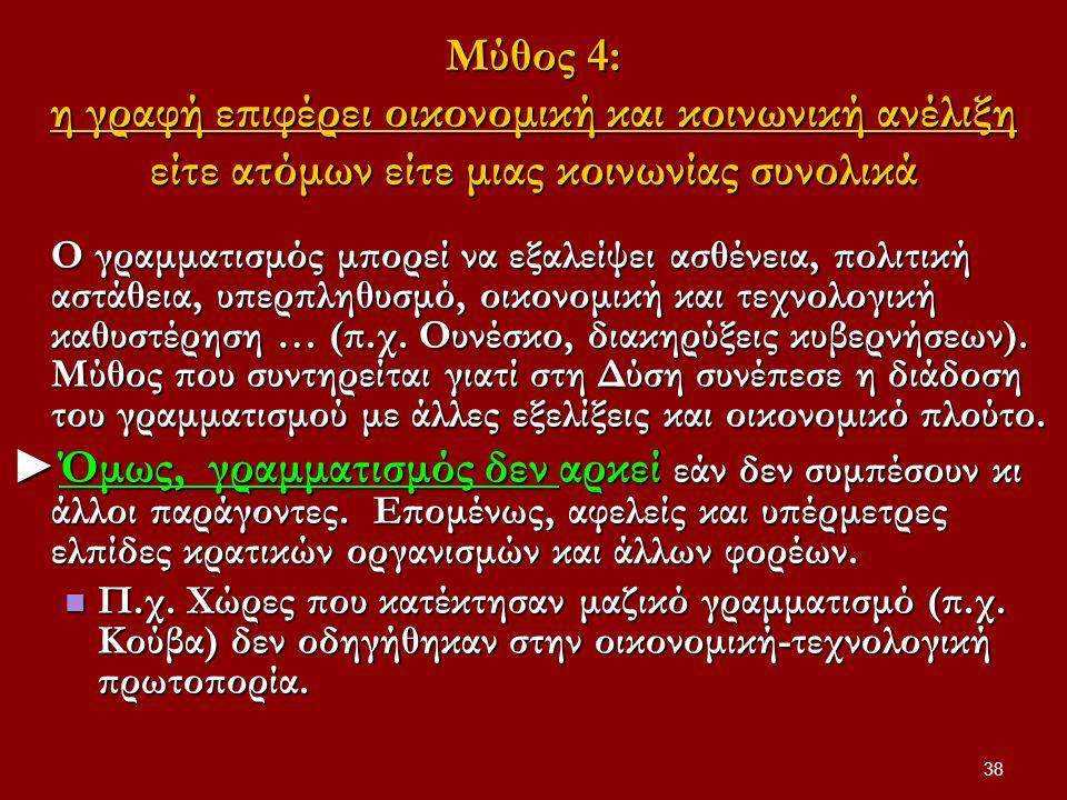 Μύθος 4: η γραφή επιφέρει οικονομική και κοινωνική ανέλιξη είτε ατόμων είτε μιας κοινωνίας συνολικά