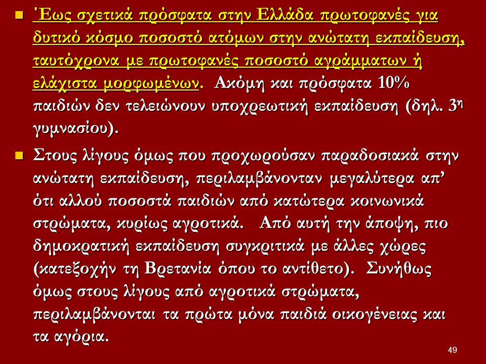 ΄Εως σχετικά πρόσφατα στην Ελλάδα πρωτοφανές για δυτικό κόσμο ποσοστό ατόμων στην ανώτατη εκπαίδευση, ταυτόχρονα με πρωτοφανές ποσοστό αγράμματων ή ελάχιστα μορφωμένων. Ακόμη και πρόσφατα 10% παιδιών δεν τελειώνουν υποχρεωτική εκπαίδευση (δηλ. 3η γυμνασίου).