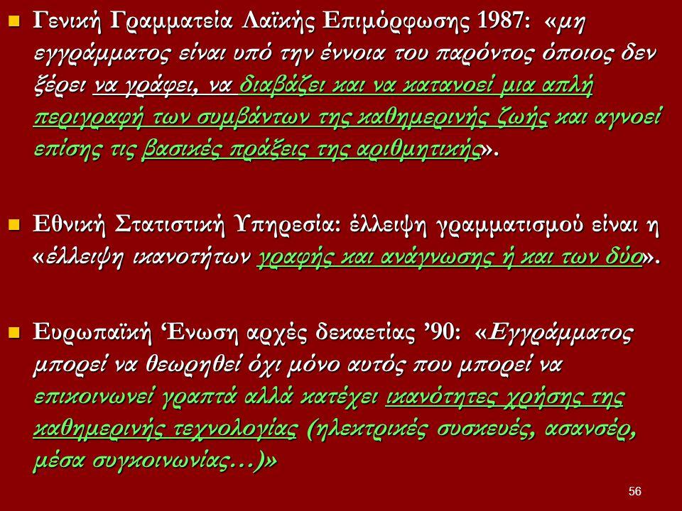 Γενική Γραμματεία Λαϊκής Επιμόρφωσης 1987: «μη εγγράμματος είναι υπό την έννοια του παρόντος όποιος δεν ξέρει να γράφει, να διαβάζει και να κατανοεί μια απλή περιγραφή των συμβάντων της καθημερινής ζωής και αγνοεί επίσης τις βασικές πράξεις της αριθμητικής».