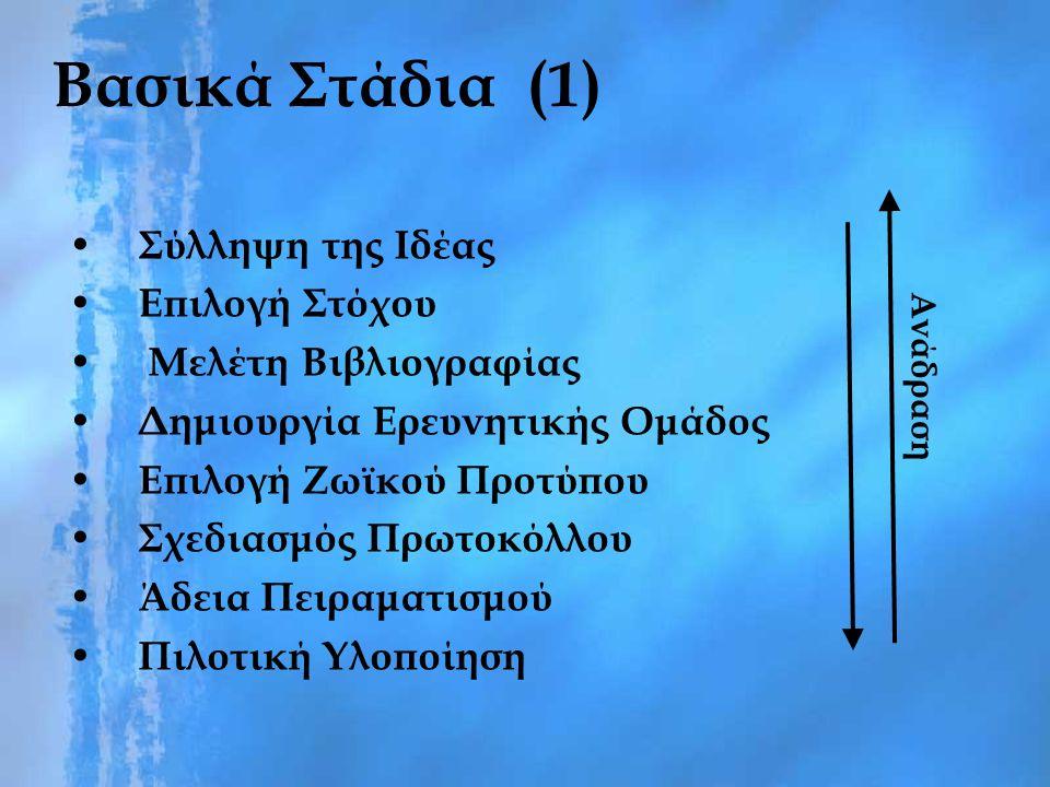 Βασικά Στάδια (1) Σύλληψη της Ιδέας Επιλογή Στόχου