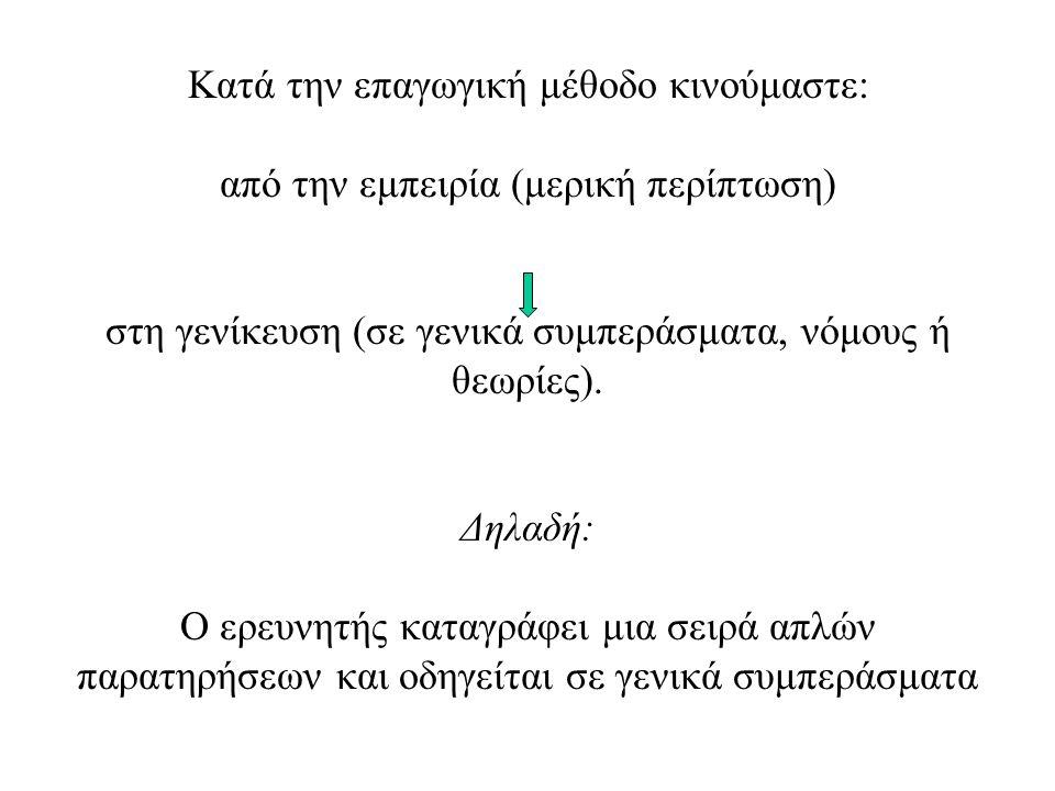 Κατά την επαγωγική μέθοδο κινούμαστε: από την εμπειρία (μερική περίπτωση) στη γενίκευση (σε γενικά συμπεράσματα, νόμους ή θεωρίες).