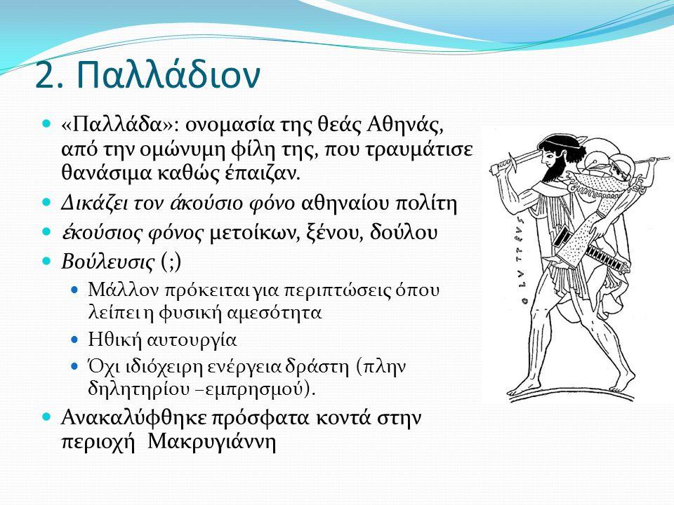 2. Παλλάδιον «Παλλάδα»: ονομασία της θεάς Αθηνάς, από την ομώνυμη φίλη της, που τραυμάτισε θανάσιμα καθώς έπαιζαν.