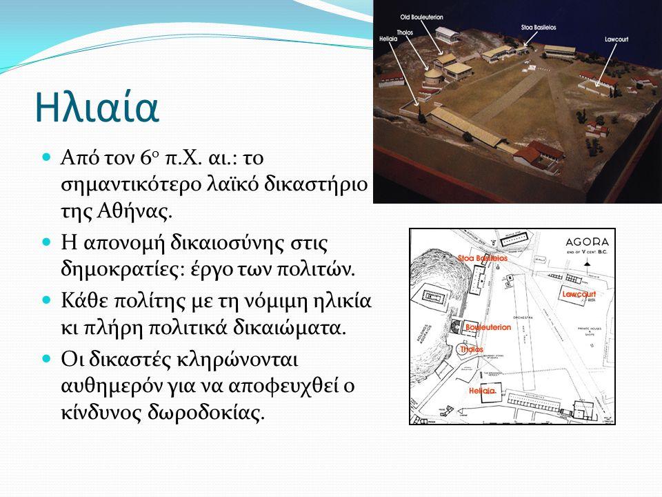 Ηλιαία Από τον 6ο π.Χ. αι.: το σημαντικότερο λαϊκό δικαστήριο της Αθήνας. Η απονομή δικαιοσύνης στις δημοκρατίες: έργο των πολιτών.